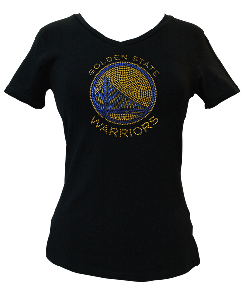 Official Golden State Warriors Rhinestone V-Neck Tee