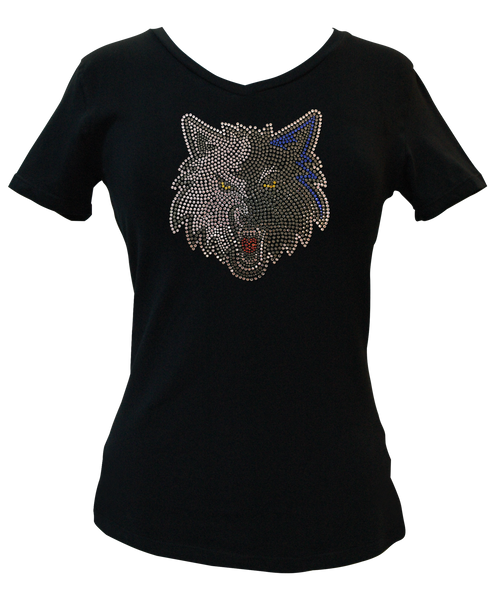 Official Minnesota Timberwolves Rhinestone V-Neck Tee