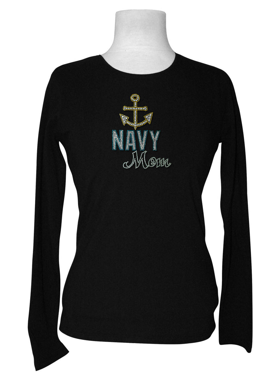 Navy Mom Rhinestone Long Sleeve Tee
