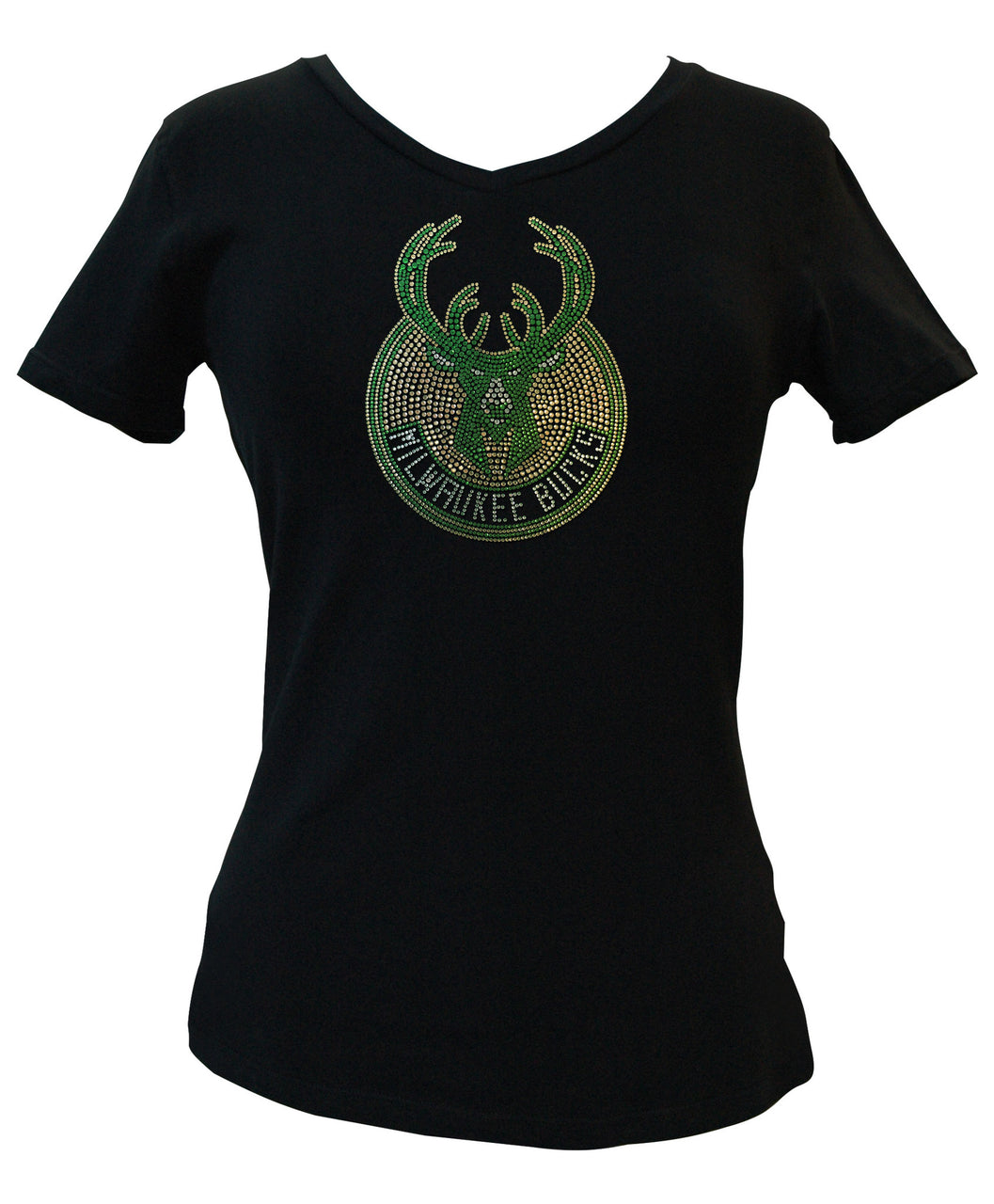 Official Milwaukee Bucks Rhinestone V-Neck Tee