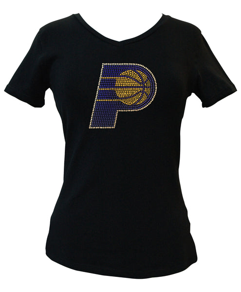 Official Indiana Pacers Rhinestone V-Neck Tee