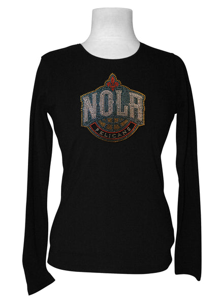 Official New Orleans Pelicans Rhinestone Long Sleeve Tee