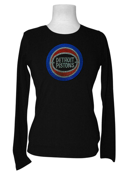 Official Detroit Pistons Rhinestone Long Sleeve Tee