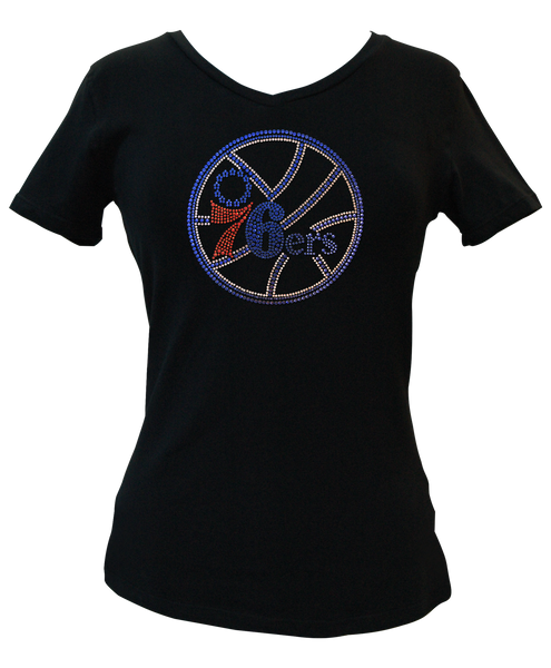 Official Philadelphia 76ers Rhinestone V-Neck Tee