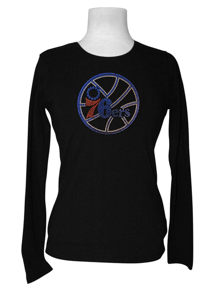 Official Philadelphia 76ers Rhinestone Long Sleeve Tee