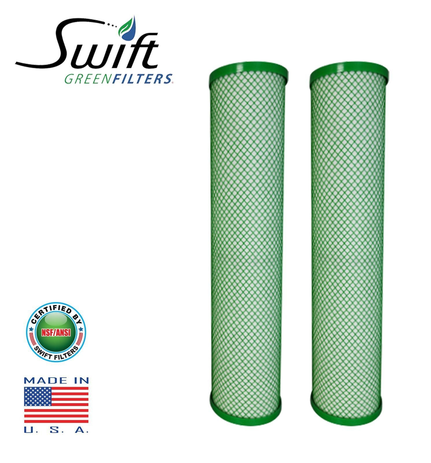 "Swift (SGF10Pb1) Replaces Filtrex FX10PB1 9.75""x2.75"" LEAD/CYST Green Block Carbon 1 Micron Filter - The Filters Club"