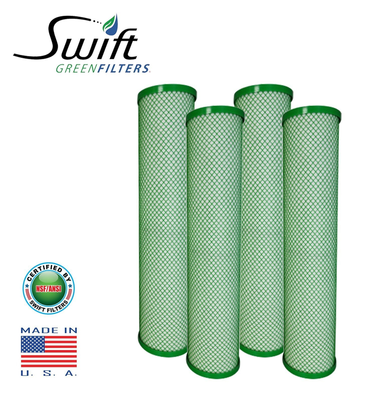 "Swift (SGFB20Pb1) Replaces Filtrex FXB20PB1 20""x 4.5"" LEAD/CYST Green Block Carbon 1 Micron Filter - The Filters Club"