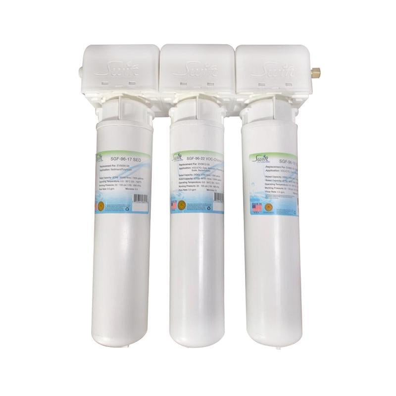 SGF3-22MAX-Rx-3 (Triple Candle System) Multi stage Under the Sink System with ultra high Capacity,Direct Connect Fittings-Removes Pharmaceutical ,VOC, Chlorine,Arsenic, Lead,Heavy metals,CTO and Sediment - The Filters Club