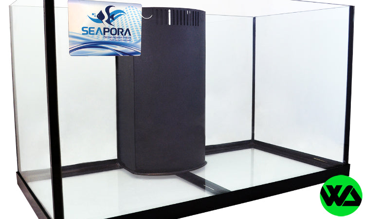 Seapora - 57 gallon edge rimless reef ready drilled corner flo aquarium 36x18x20