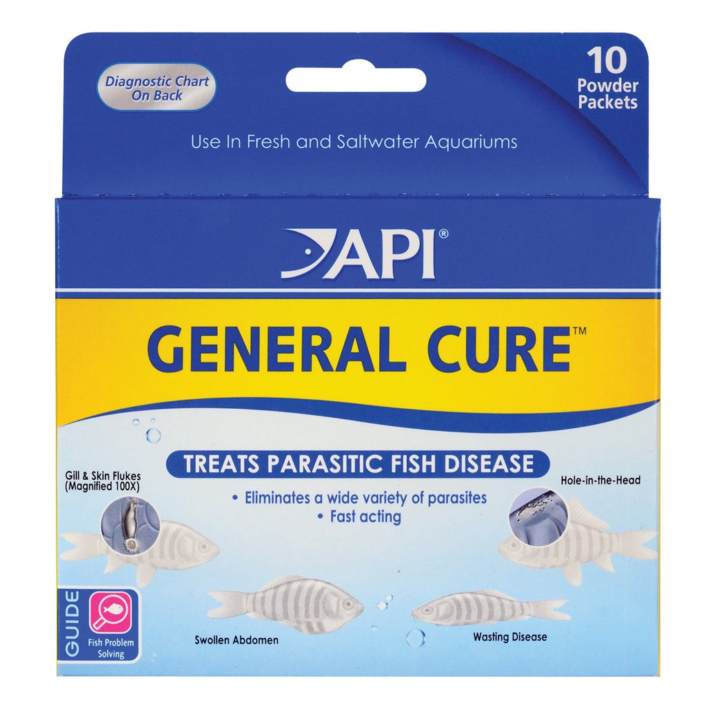API GENERAL CURE Freshwater and Saltwater Fish Powder Medication 10-Count Box, Dry Goods - Whitlyn Aquatics - Live Coral