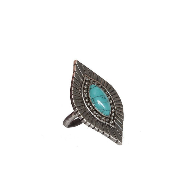 West n' Wild Ring in Turquoise and Antique Silver
