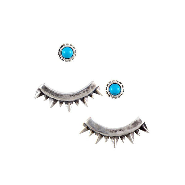 Eyes of Mars Turquoise and Antique Silver Ear Jackets