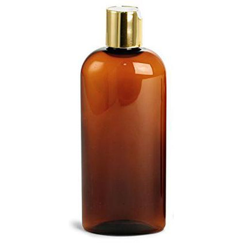 Amber 8 Oz Bullet Bottle with Gold 24/410 Top