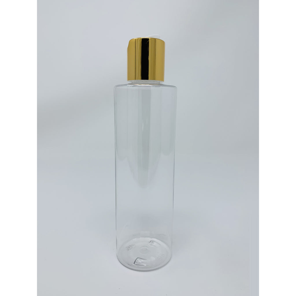 8 Oz Clear Cylinder Bottle With Gold Top