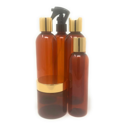50 Pc Black Castor Oil Start Up Kit in Amber & Gold Packaging