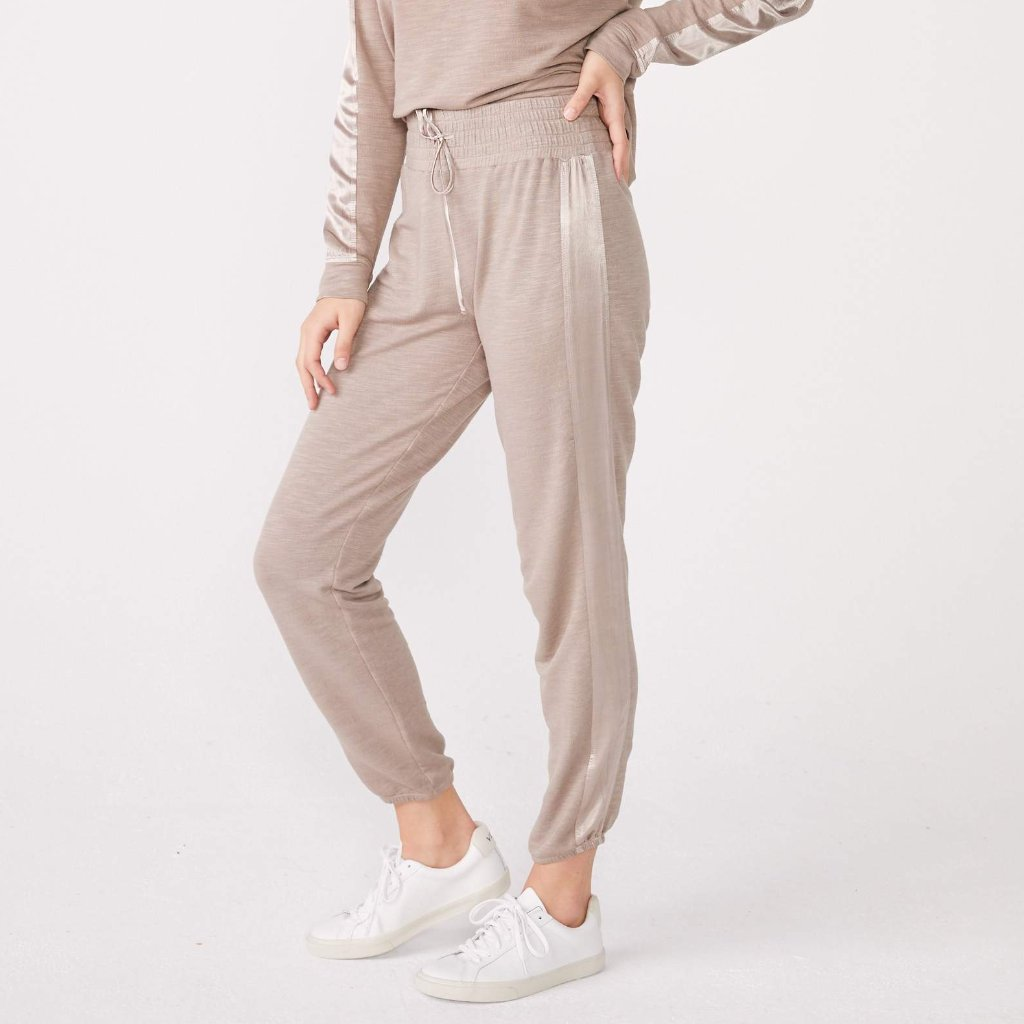 Supersoft High Waisted Satin Stripe Sweats