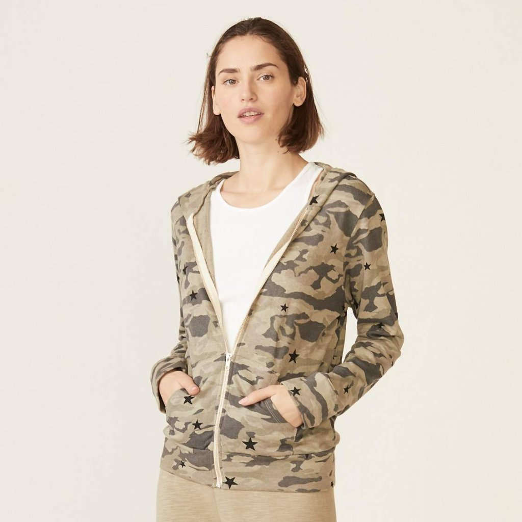 Camo Zip Up Hoody with Stardust