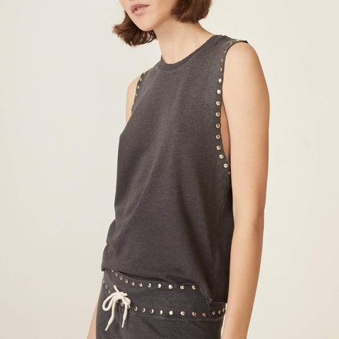 Sleeveless Studded Sweatshirt
