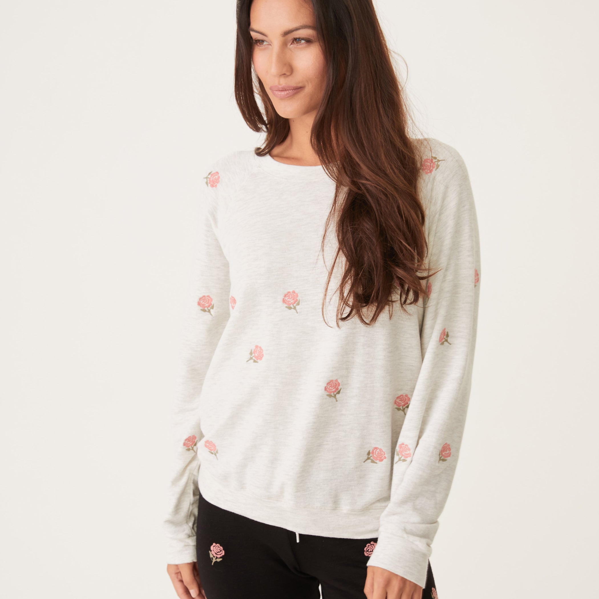 Supersoft Embroidered Rose Raglan