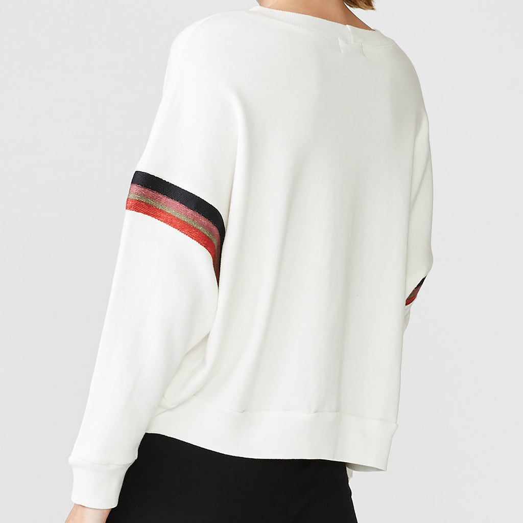 Embroidered Stripe Boxy Sweatshirt