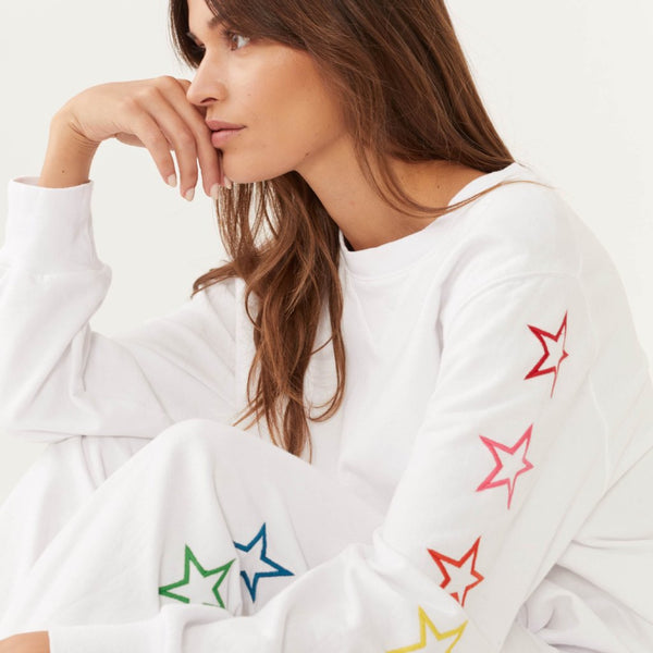 Rainbow Embroidered Star Sweatshirt