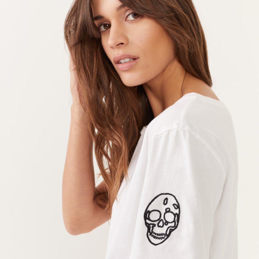 Embroidered Skull Crew
