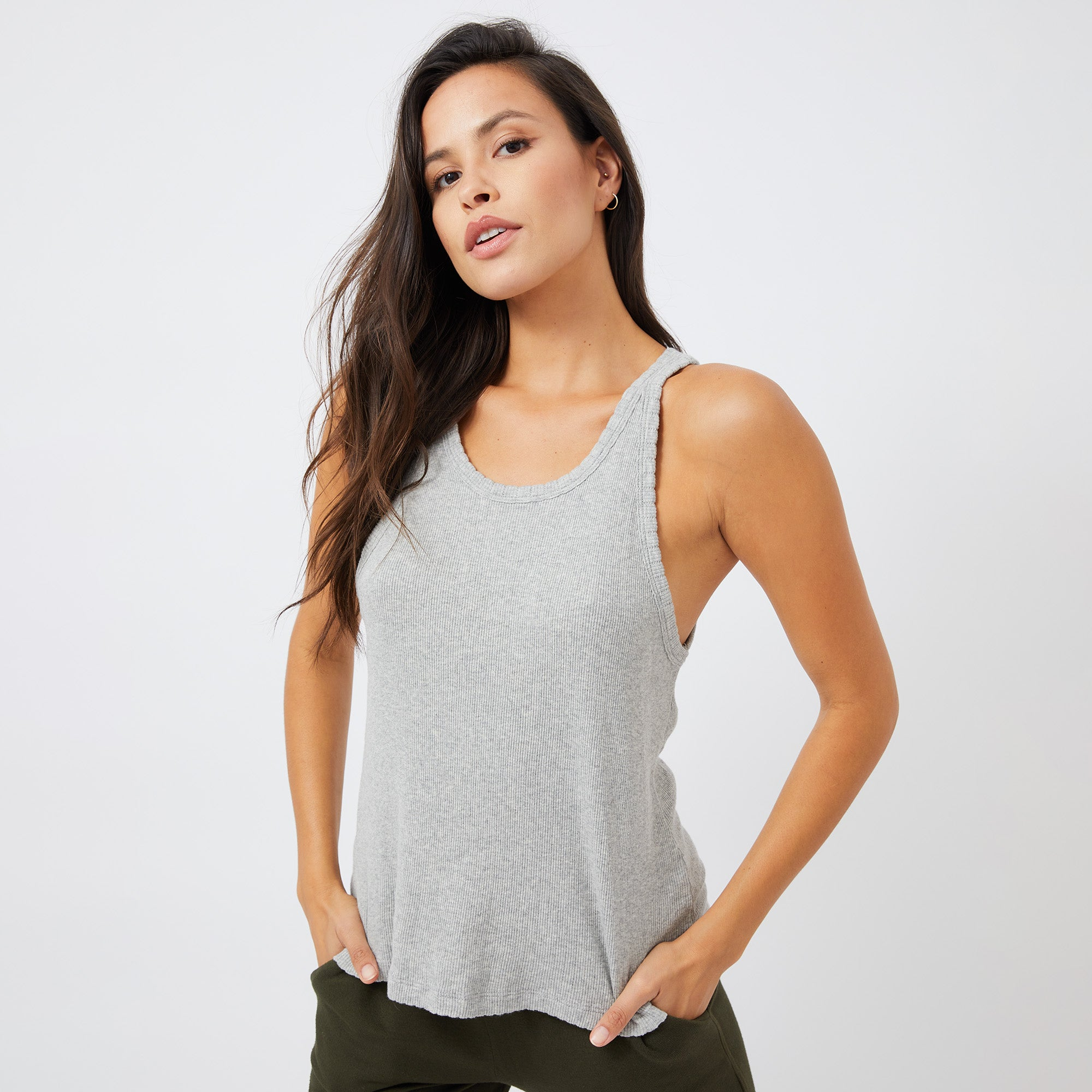 Heather Pointelle Narrow Tank