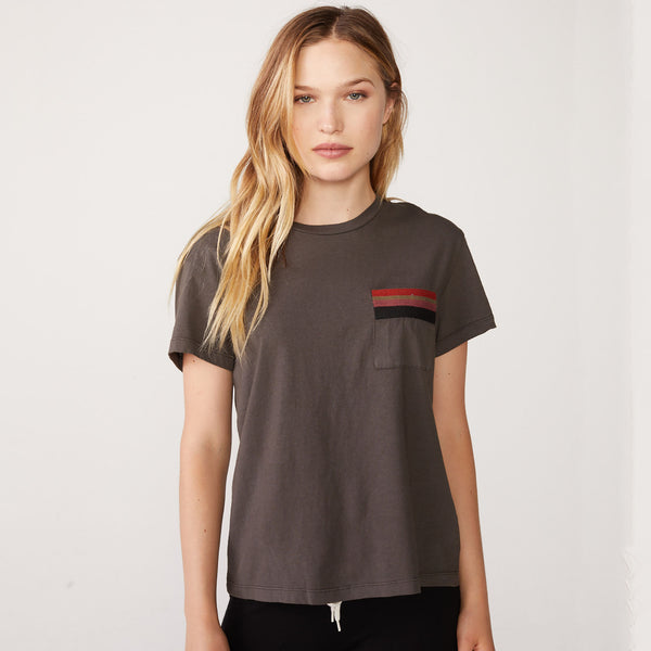 Vintage Pocket Tee With Stripe Embroidery