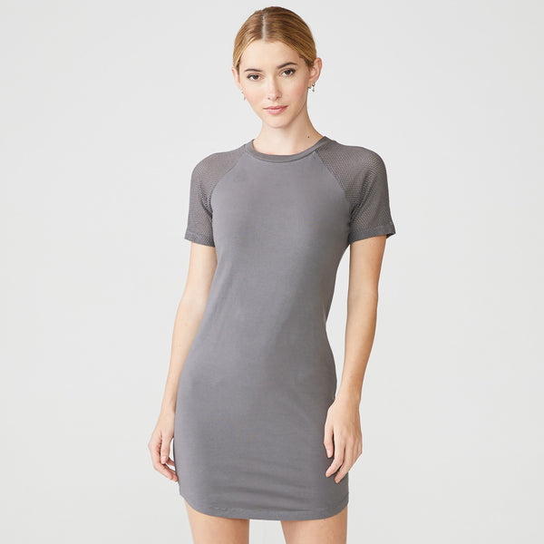 Mesh Mix Short Sleeve Dress