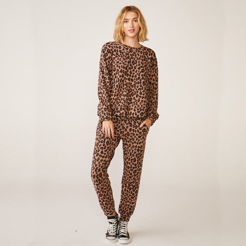 Natural Leopard Oversized Sweatshirt