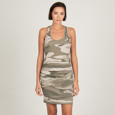 Oversized Camo Tank Shirred Dress (4181146730598)