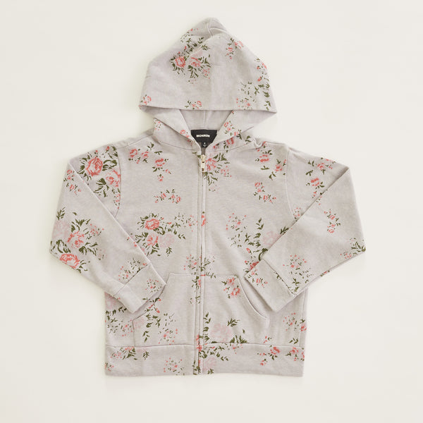 Kids Zip Up Hoody With Floral Print