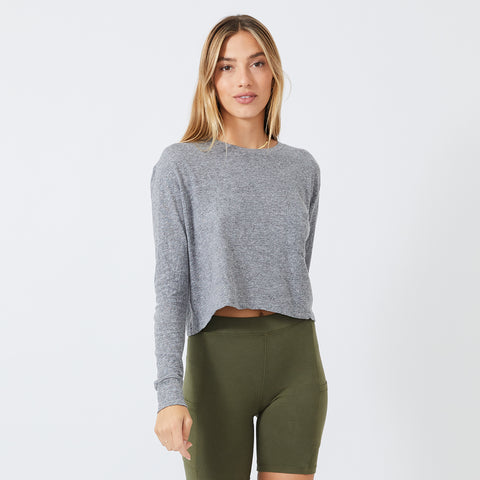 Cropped Long Sleeve Ex-Boyfriend Pocket Crew