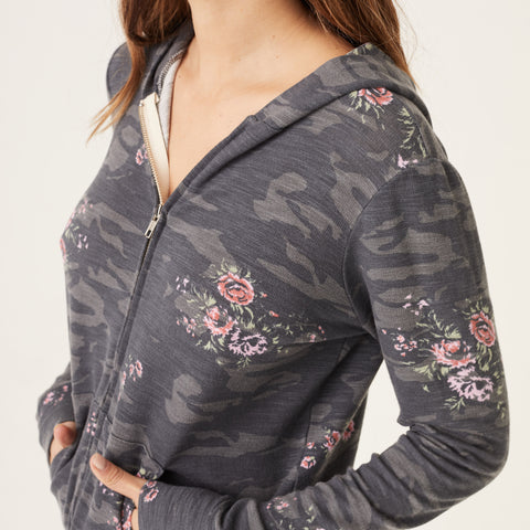 Supersoft Floral Camo Zip Up Hoody