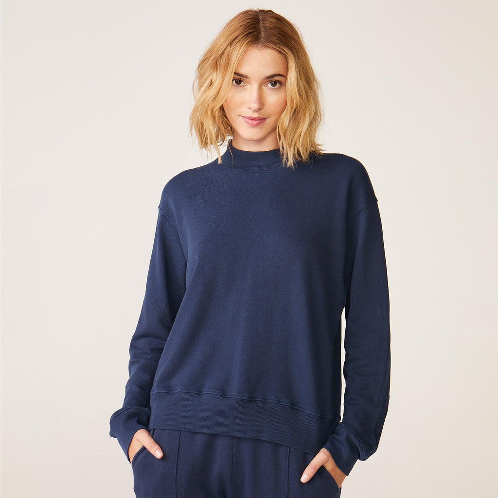 Mock Neck Seamed Sweatshirt