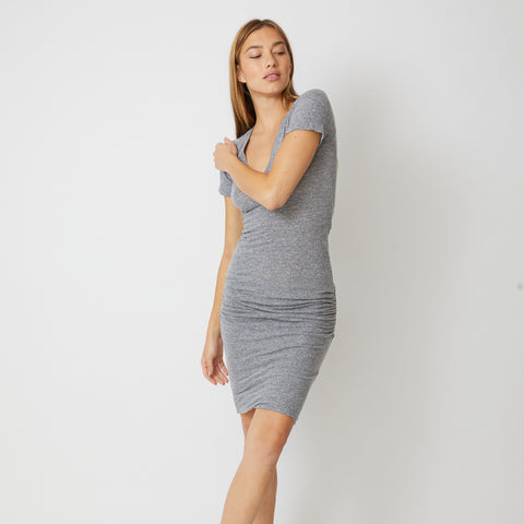 Textured Tri-Blend V Neck Shirred Dress