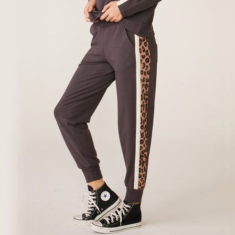 Paneled Natural Leopard Sporty Sweat
