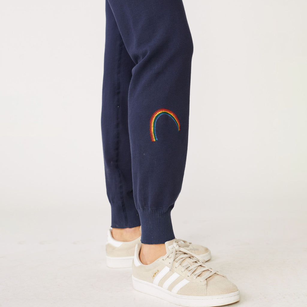 Rainbow Embroidered Elastic Cuff Sweats
