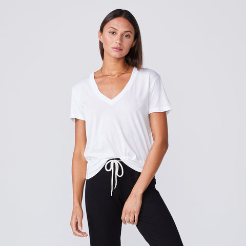 Cotton Modal Relaxed V Neck Tee