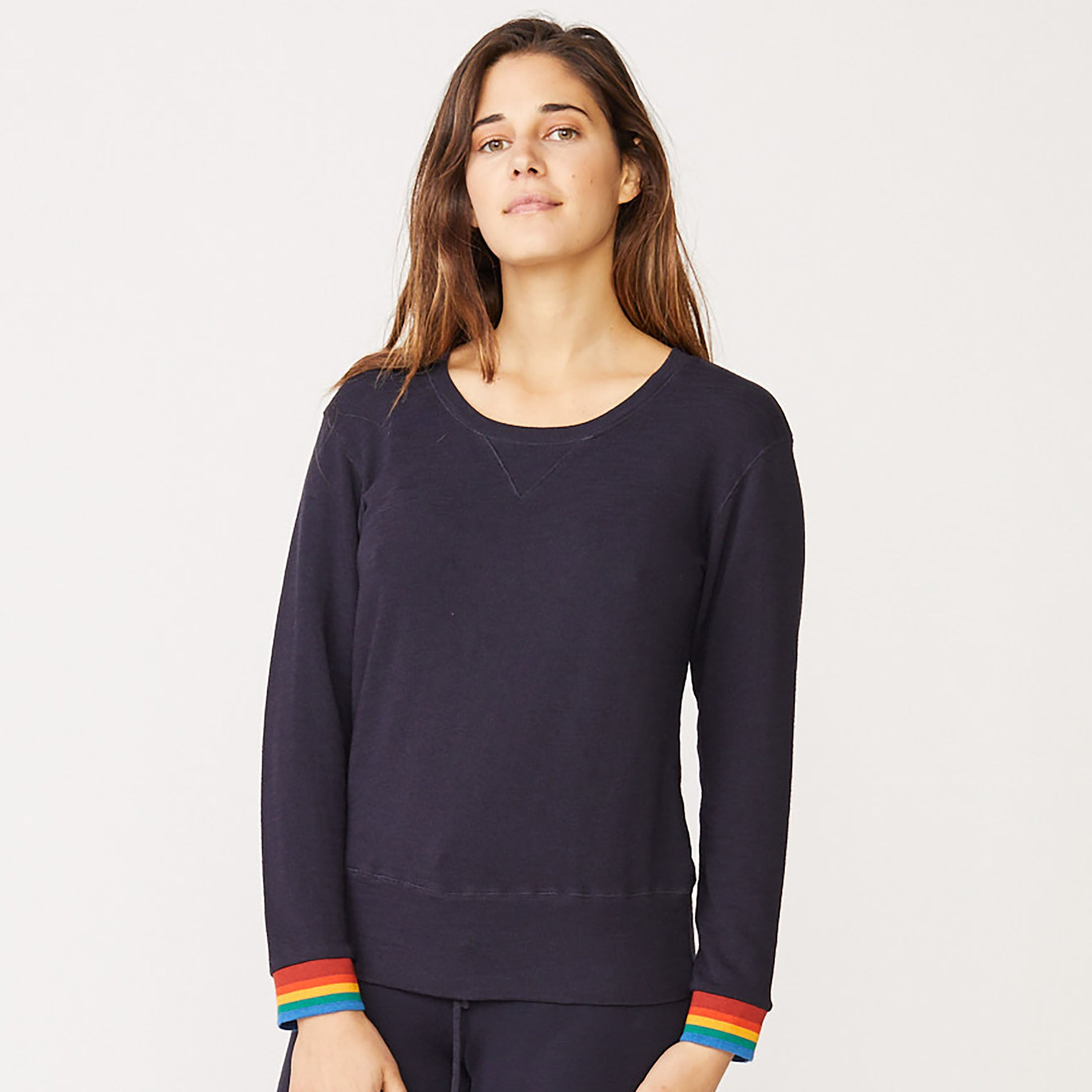 Supersoft Rainbow Cuff Crew Neck Sweatshirt