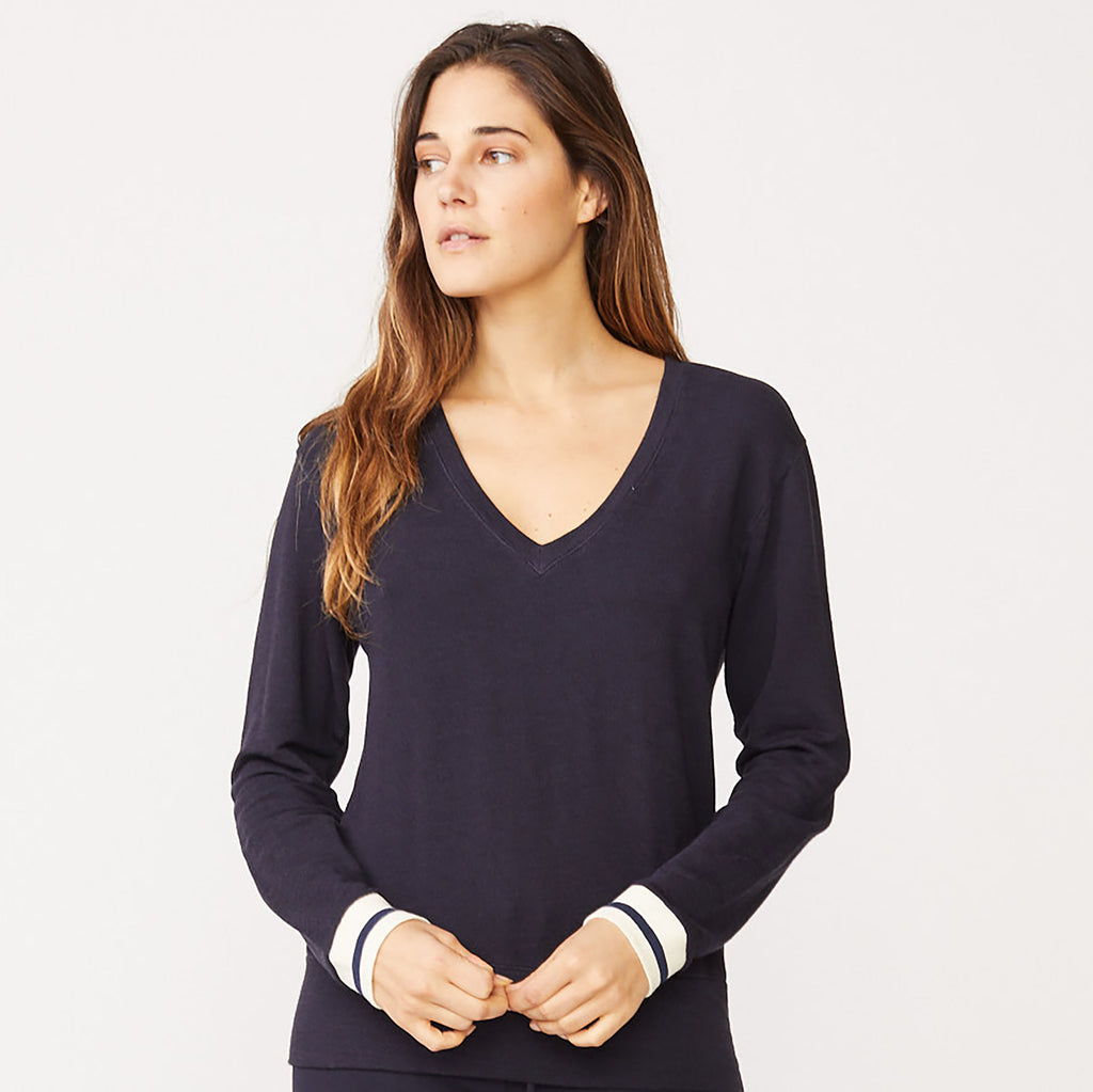 Supersoft Elastic Cuff Long Sleeve V Neck