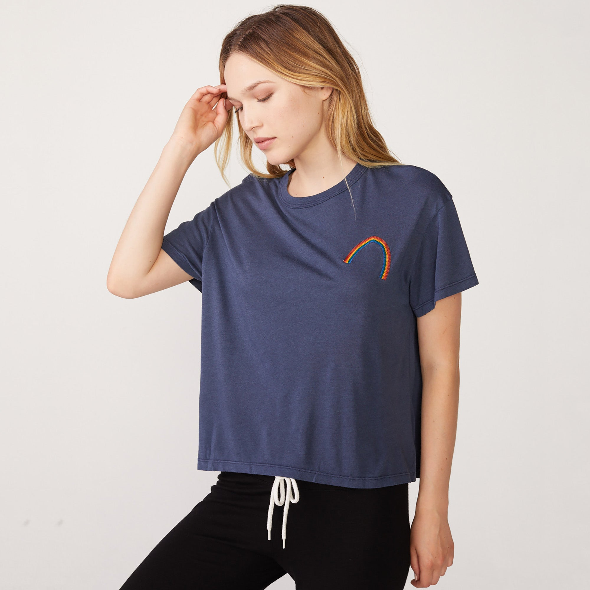 Rainbow Embroidered Vintage Tee