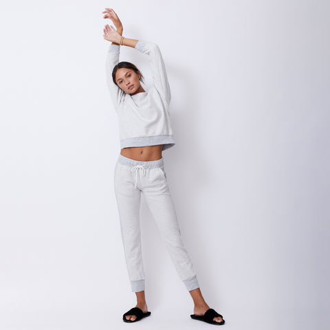 Reversed Contrast Rib Sporty Sweats (4945170006118)