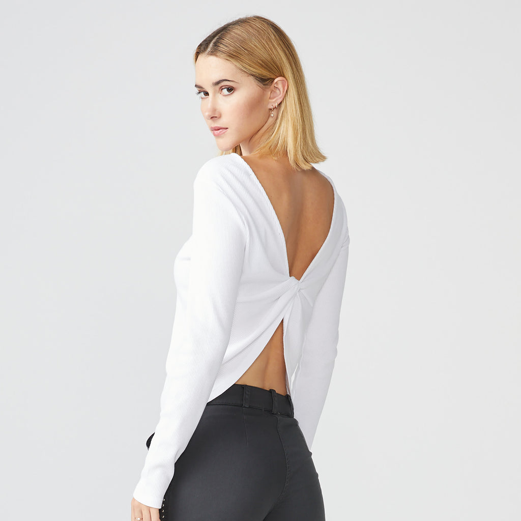 Ribbed Twisted Back Long Sleeve Top