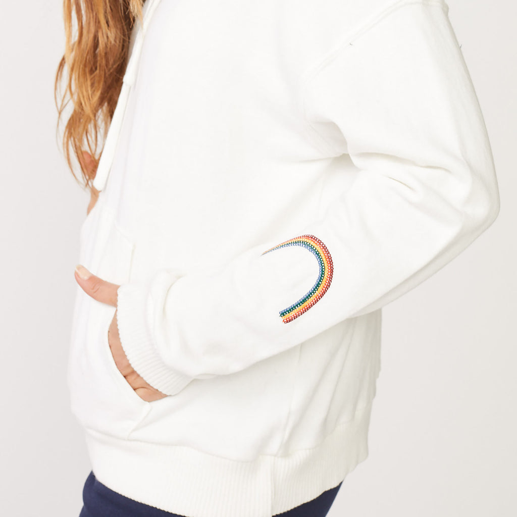 Rainbow Embroidered Oversized Hoody