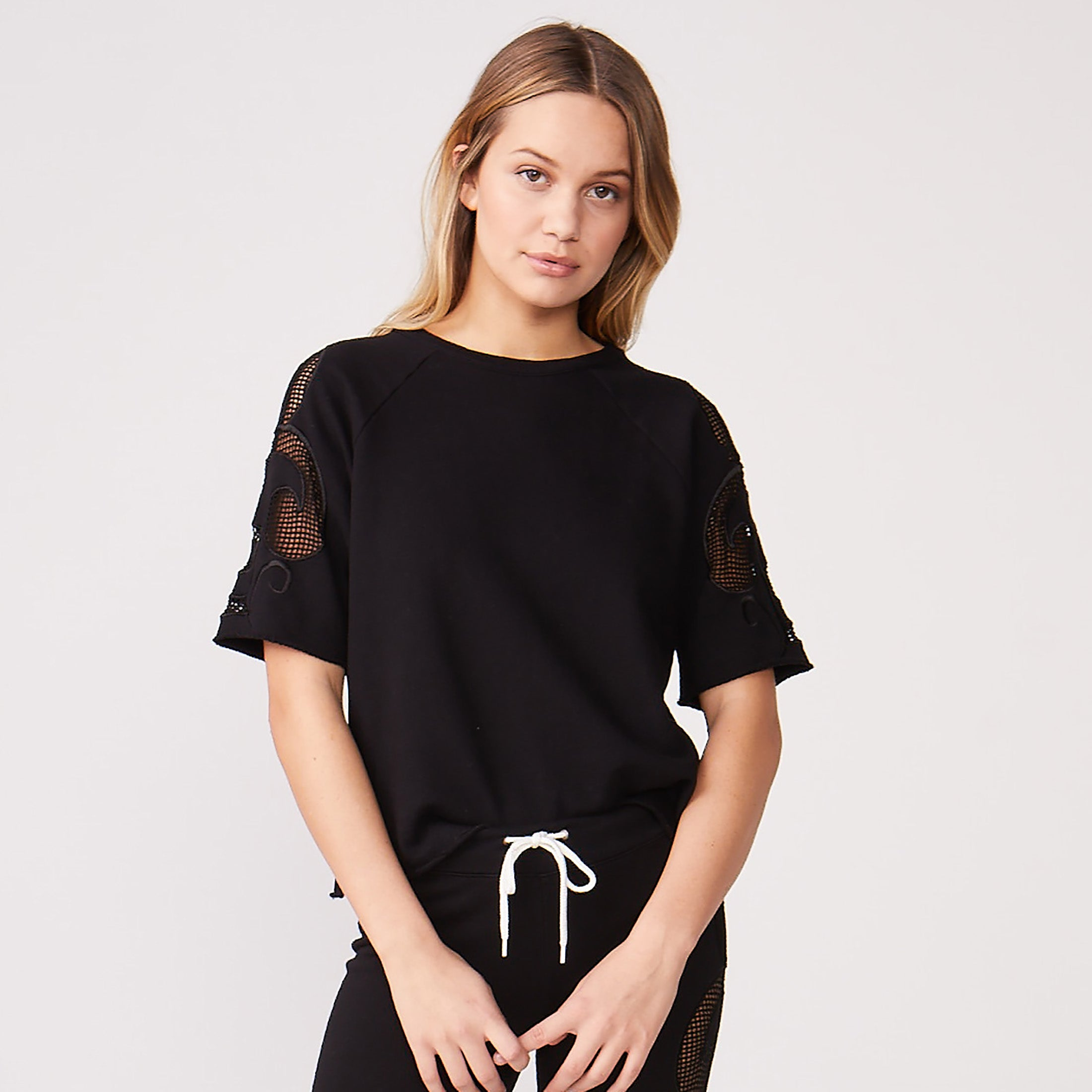 Short Sleeve Mesh Detail Sweatshirt