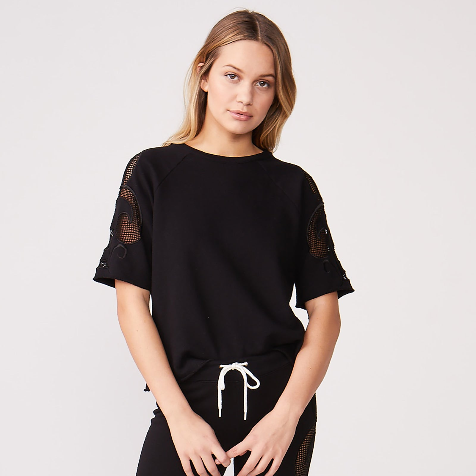 Short Sleeve Mesh Detail Sweatshirt (3880571469926)
