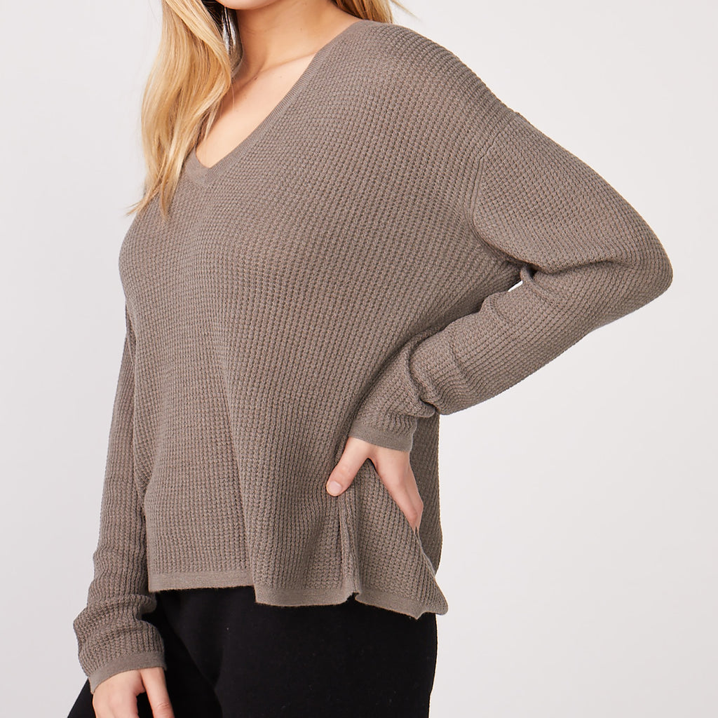 Cashmere V Neck Thermal Sweatshirt