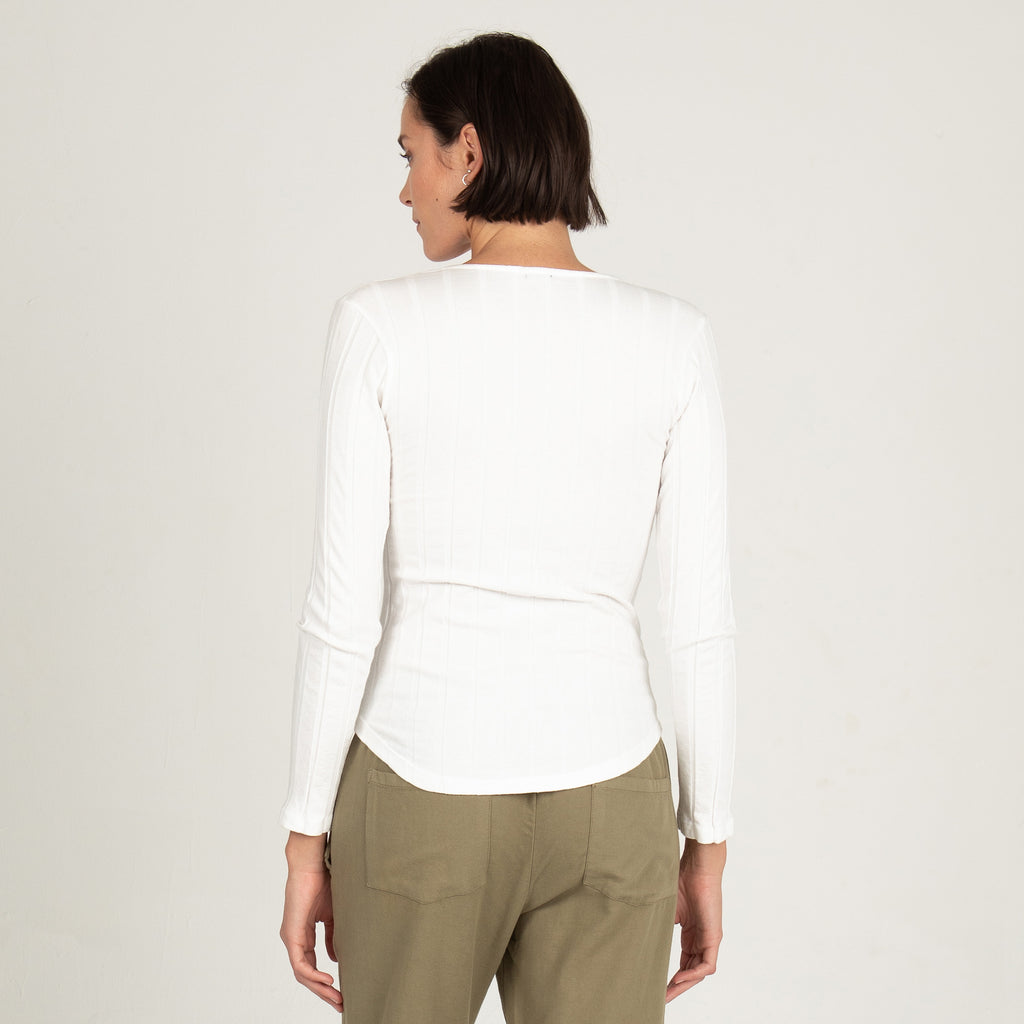 Rib Long Sleeve V Neck Henley