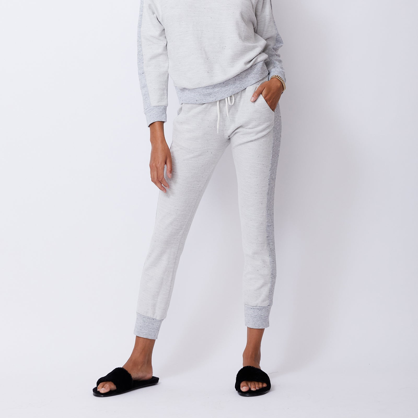 Reversed Contrast Rib Sporty Sweats
